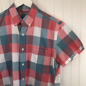 J Crew Men's Plaid Short Sleeve Shirt Sz M